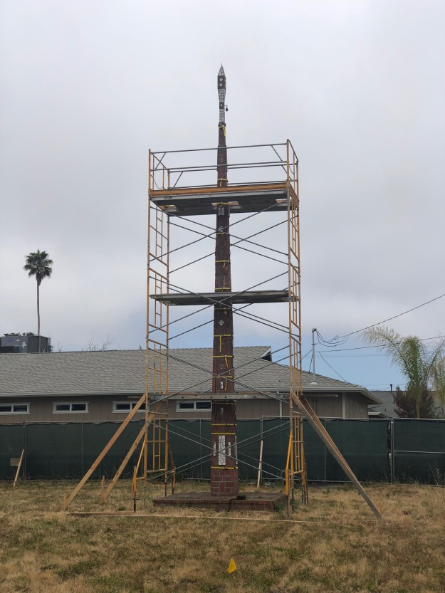 "scaffolding up around ""flag pole"" obelisk"