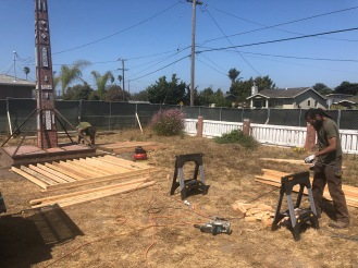 Building the protective barrier for the obelisk