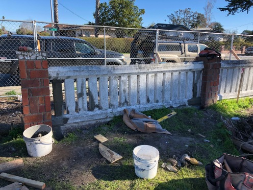 and after...the man truly works miracles. We never thought it could be repaired, but of course Mike worked his magic and we are on our way to yet another beautifully repaired artifact. Looking forward to the finish work on this historic fence.