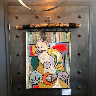 During all this I managed to enter in an artshow...pick a Picasso piece that inspires you and do your own version...mine is a cloth tapestry (of sorts) hung on driftwood found on Capitola beach this winter